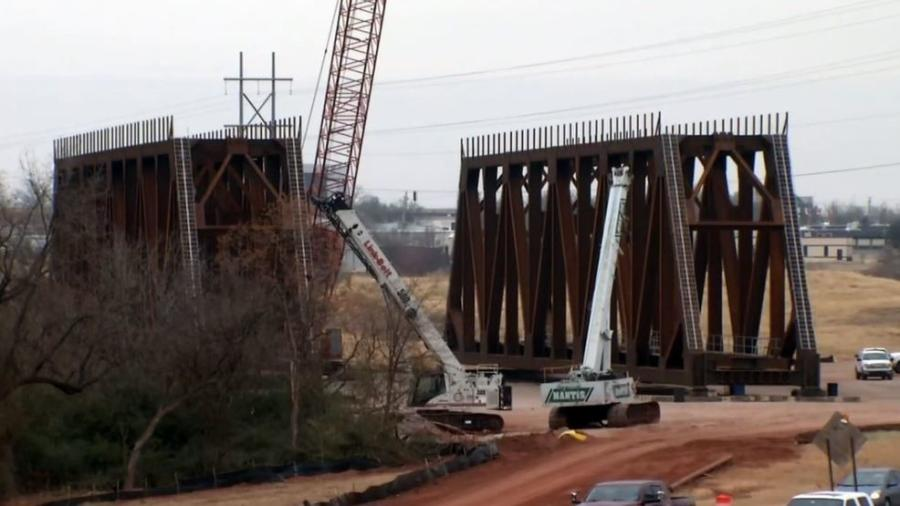 During the closure, workers will move two 44-ft. tall, 275-ft. long spans above the road for the bridge that is under construction next to I-235. The work is part of project at the I-235 and I-44 interchange, Fox 25 News reported.