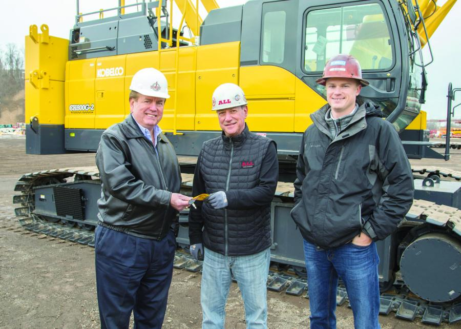 (L-R) are Daniel H. Gold, chief executive officer, Kelley Steel Erectors Inc.; Michael LiPuma, sales, ALL Erection & Crane Rental Inc.; and Blake Nommensen, western regional sales manager, Kobelco North America.