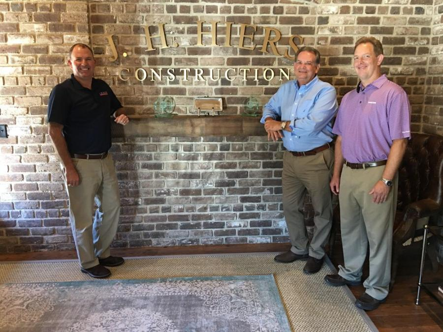 In the J.H. Hiers Construction offices in Beaufort, S.C., (L-R) are Jeff Hiers, owner of J.H. Hiers Construction; Mitch Bailey of Ascendum Machinery; and Deric Cameron, Volvo Financial Services.
