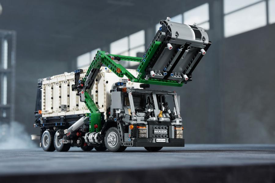 Mack Trucks teamed up with the LEGO Group to develop a LEGO Technic kit that can be used to build extremely detailed models of the Mack Anthem or Mack LR models. With 2,595 pieces, including a very special replica of the Mack Bulldog hood ornament, it's the fifth-largest LEGO Technic set ever.