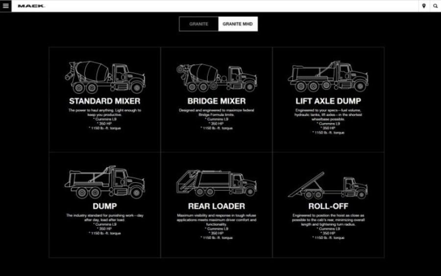 Mack Trucks launched the Mack Trucks Configurator, a new website that enables customers to build and customize Mack Granite and Granite MHD models virtually to see which specs are most effective for their applications. The Mack Trucks Configurator is available to the public and can be found at http://build.macktrucks.com.