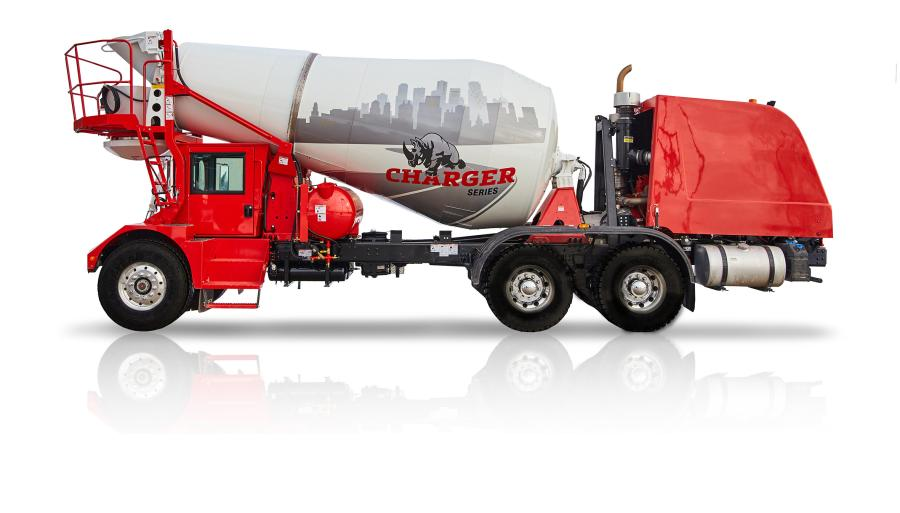 This new Charger front discharge truck comes standard with a redesigned 10-cu. yd. mixer drum with 46-in. (116.8-cm) opening for fast and efficient charge/discharge of material. To provide the optimum balance between durability and payload, the drum shell is constructed with 3/16-in. (.4-cm) thick AR400 brinell steel, similar to that of Terex Advance FD/FDB series front discharge mixer trucks.