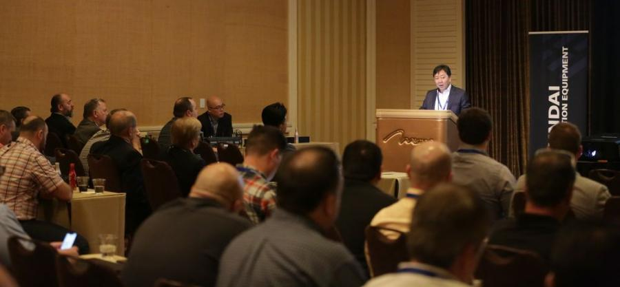 M.S. Kang, president of Hyundai Construction Equipment Americas Inc., addresses dealer representatives gathered in Las Vegas for 2018 Hyundai Construction Equipment Americas dealer meeting.