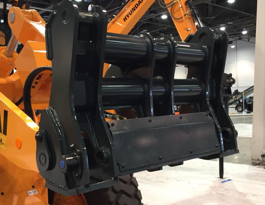 At the World of Concrete expo in Las Vegas, Hyundai Construction Equipment Americas Inc. introduced this newly redesigned quick coupler for its HL900 series wheel loaders.
