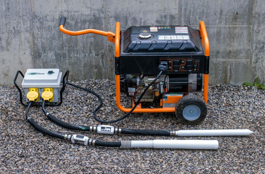 Minnich M-Box operators can select from speeds of 6,000, 8,000, and 10,800 VPM. The product converts the 230-volt, single-phase outlet of a 3,500-watt generator to 230-volt, three-phase output, allowing the operator to choose a uniform and compatible constant speed under different concrete loads.