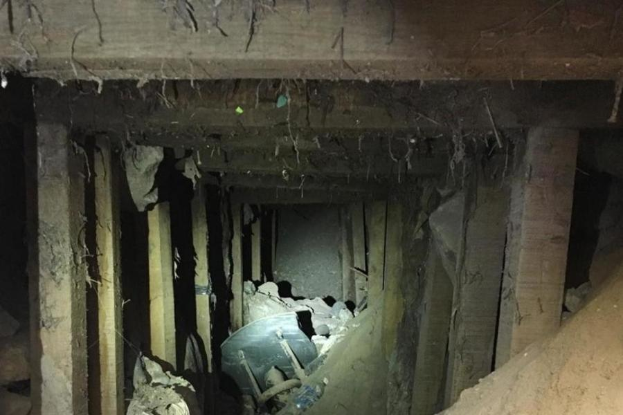 A construction crew uncovered an abandoned tunnel in Texas, just north of the border with Mexico.