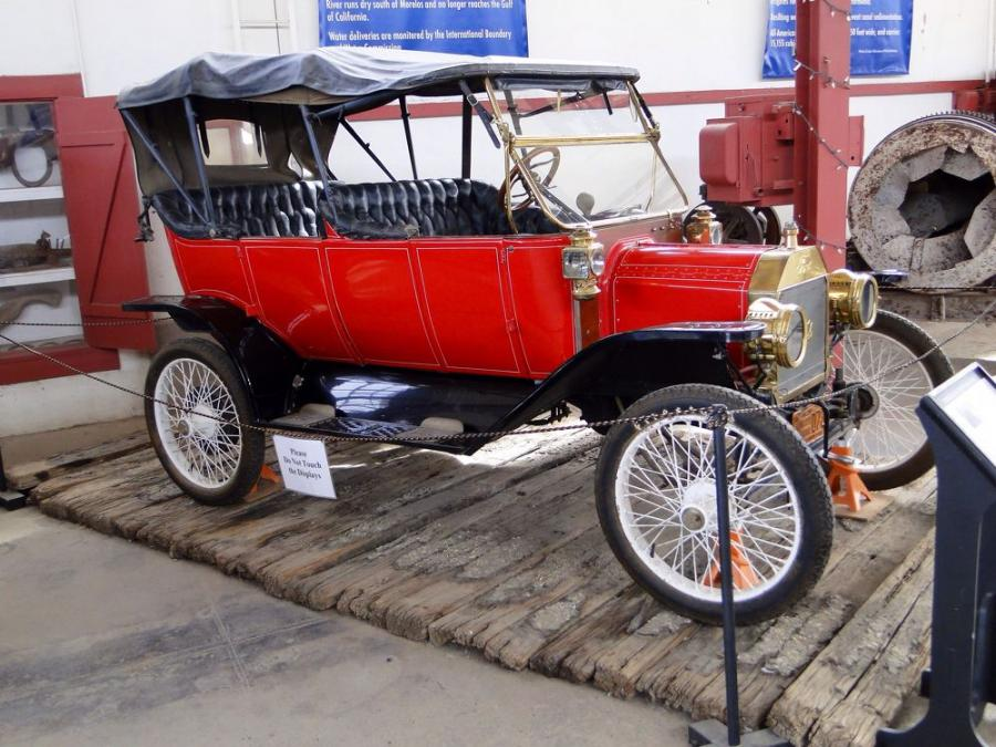 Remnants from the Old Plank Road through the Imperial Dunes and Ford automobile on display at the Yuma Quartermaster Depot Historic Site, 201 N. 4th Avenue, Yuma, Ariz.