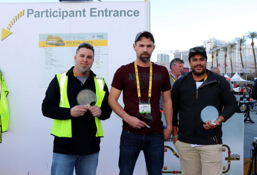 Wacker Neuson's Trowel Challenge Competition winners for 2018 (L-R) are first place, Derek Gromacki, PJ Dick Inc., Pittsburgh, Pa; second place, Josh Smith, H & M Precision Concrete, Greenville, Ohio; and third place, Tai Johnson, V & G Concrete Construction, Melbourne, Australia.