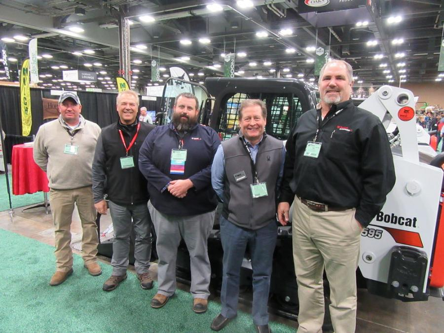 (L-R): A full contingent of Bobcat Enterprises representatives, including Bud Pack, Bobcat Company district manager; Buzz Helser; Lenny Garrard, Bobcat Enterprises' Doosan territory manager; Marty Grace; and Tim Cannon were on hand to discuss the dealership's lineup of landscape and nursery equipment.