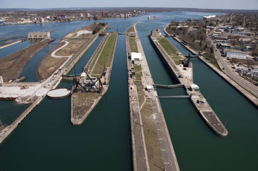 The Soo Locks are located on the St. Marys River, which links Lakes Huron and Superior.