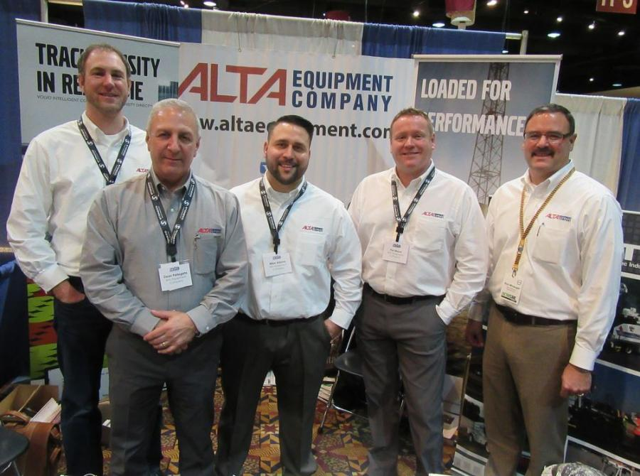 (L-R): Nate Windy, Dean Pellegato, Mike Adams, Pat Mead and Rick Winenger, all of Michigan's authorized Volvo Dealer, Alta Equipment Company, were on hand to discuss the dealership's equipment, including their recently added Roadtec and Jet Heat lines.