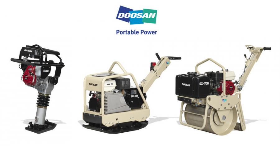 Doosan's light compaction equipment includes upright rammers and reversible vibratory plate compactors and walk-behind vibratory rollers.