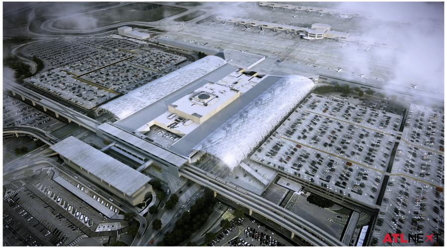 A rendering of the completed $138 million canopy project at Atlanta's Hartsfield-Jackson International Airport.