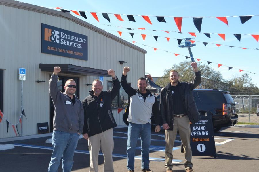 (L-R): Chris Key, H&E territory manager; Rick Bystrycki, H&E Tampa branch manager; Mark Kollar, H&E territory manager; and Brandon Wilkinson, H&E territory manager, were pumped to host their grand opening event in Tampa.