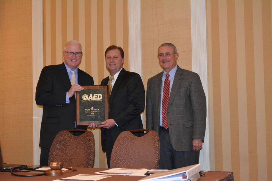 (L-R): Brian P. McGuire, president and CEO, Associated Equipment Distributors; Dan Stracener, president, Tractor & Equipment Co.; Stowers, 2017 AED chairman, Wes Stowers Machinery Corp.