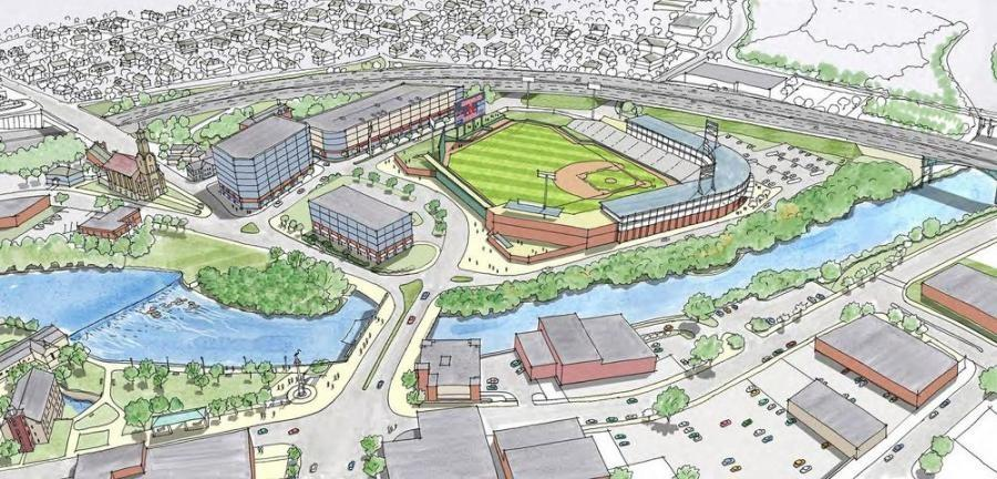 Conceptual design of the new stadium for the Pawtucket Red Sox.