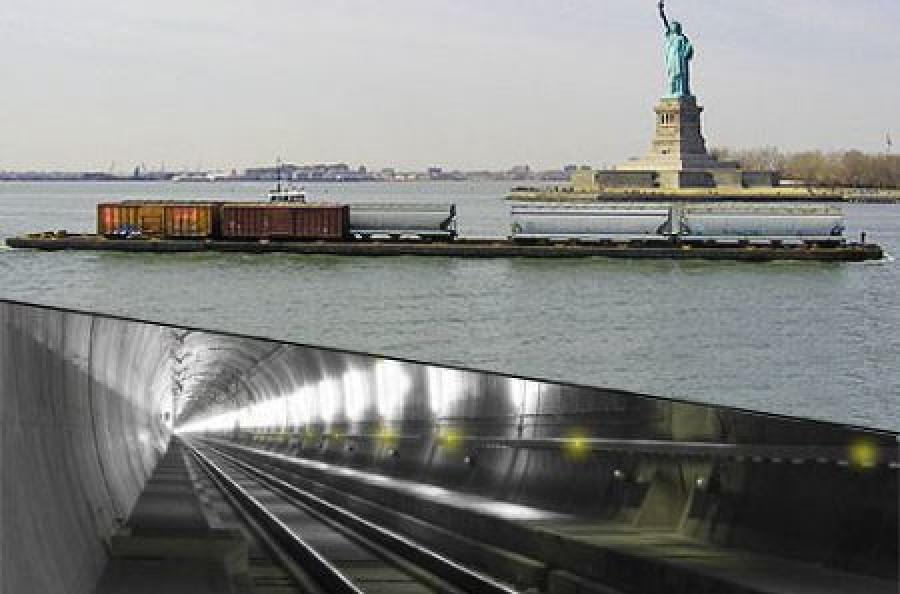 The image at top shows the existing railcar float system, below is a rendering of what a cross harbor rail tunnel could look like.  (PANYNJ and State of New York photo)