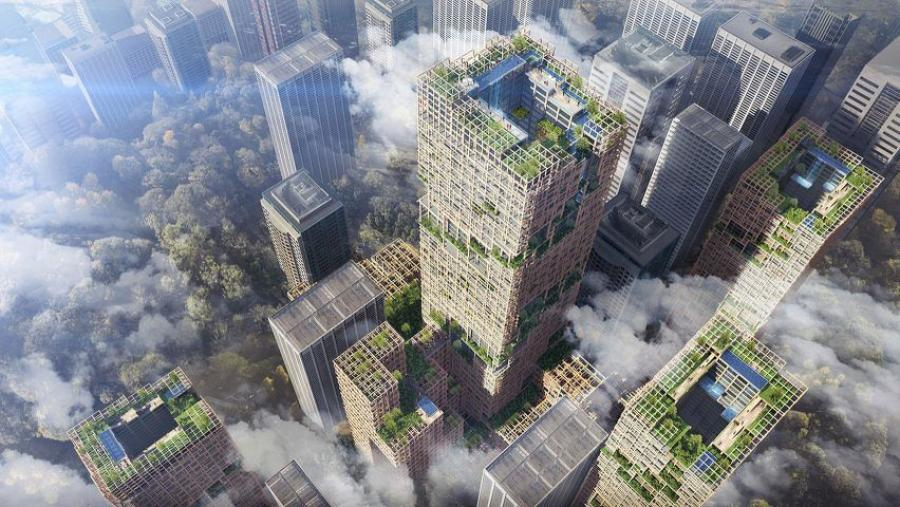 "According to the company, its goal is to create cities that are environmentally conscious and use timber, allowing them to ""become forests through increased use of wooden architecture for high-rise buildings."""