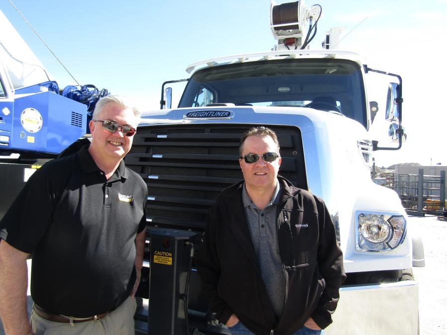 (L-R) are Neil Goodale, Coastline Crane division manager and TJ Walton, Freightliner Vocational Truck sales.