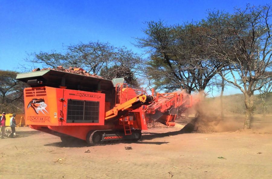 The Rockster Jaw Crusher R800 crushes lead ore in Chunya to a size of 0-40 mm using screenbox and return belt.