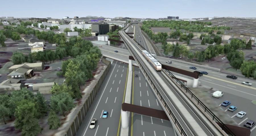 The $1 billion extension will be a 4.5 mi. elevated rail.