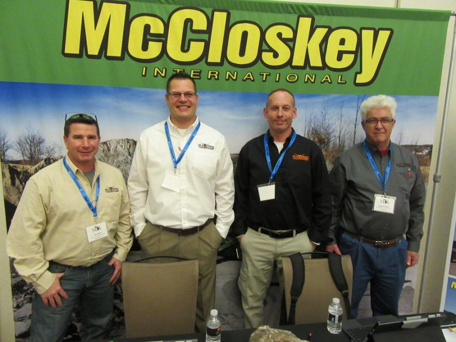 (L-R): Tim Smith, Fred Makenin, Rob Wenzlick and Greg Hartman, all of Maverick Environmental Equipment LLC, stand ready to discuss the company's lineup of Eagle Crusher and McCloskey machines.