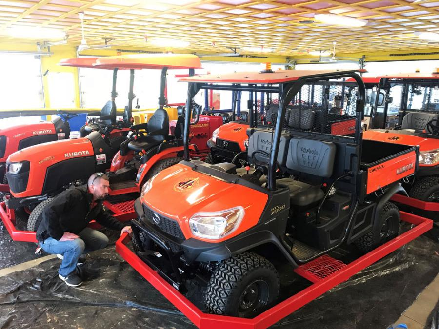 Assistant General Manager, Byron O'Donnell, does a final inspection of the new Kubota RTV and Tractor Fleet before the machines move onto their designated courses for the 2018 season.