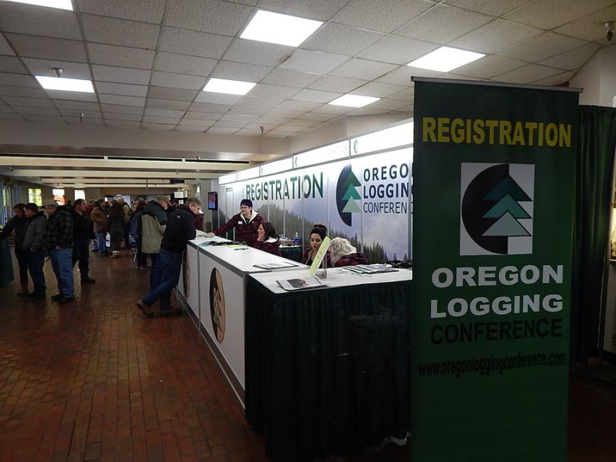 Registration was brisk for the Oregon Logging Conference.
