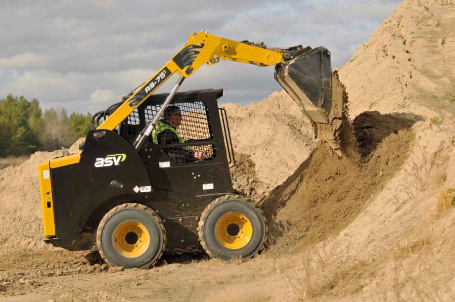 ASV Holdings Inc. offers the large-frame, radial-lift RS-75 and vertical-lift VS-75 skid-steer loaders. The machines feature highly efficient hydraulics and cooling systems, as well as best-in-class high ground clearance, departure angle and serviceability.(Photo Courtesy of ASV)