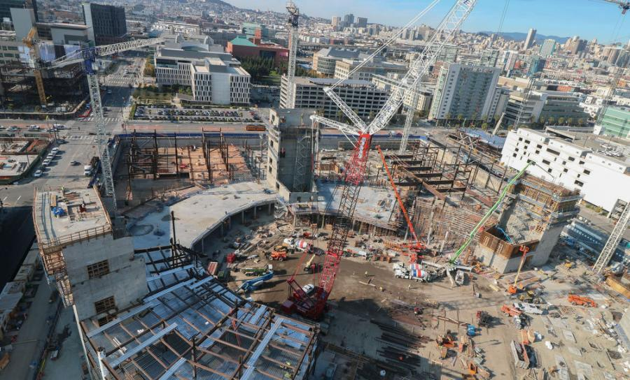 Chase Center and the  surrounding area is now 40 percent  complete. (Golden State Warriors photo)