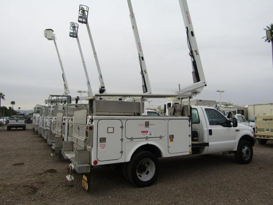 A wide selection of Ford and Dodge bucket trucks were among the lineup of items offered at WSM's March auction.