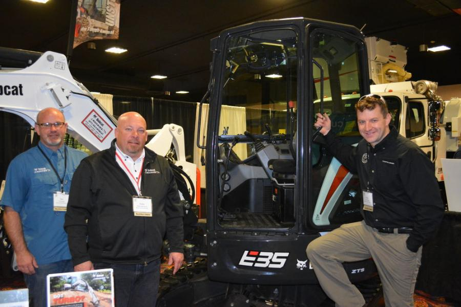 The Bobcat of the Rockies booth was busy throughout the show. (L-R): Tim Smith, Rollie McDaniel and Jason Kelly were on hand to display Bobcat's line of skid steers and excavators.