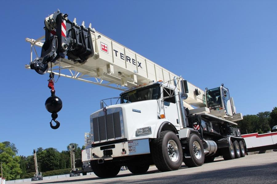 The Terex Crossover 8000 boom truck has an 80-ton (72.5-t) maximum lifting capacity, comes with a 126-ft. (38.4-m) fully synchronous telescopic boom and features X-pattern front outriggers designed to eliminate front jack requirements.