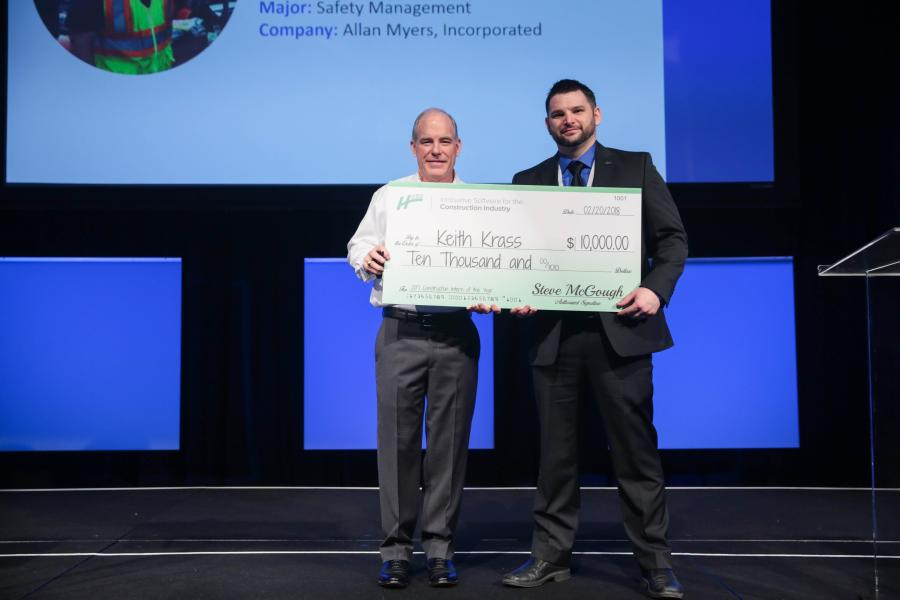 Army veteran and Safety Management major at Slippery Rock University of Pennsylvania, Keith Krass (R), was awarded the grand prize, Intern of the Year, scholarship of $10,000. Steve McGough, HCSS 