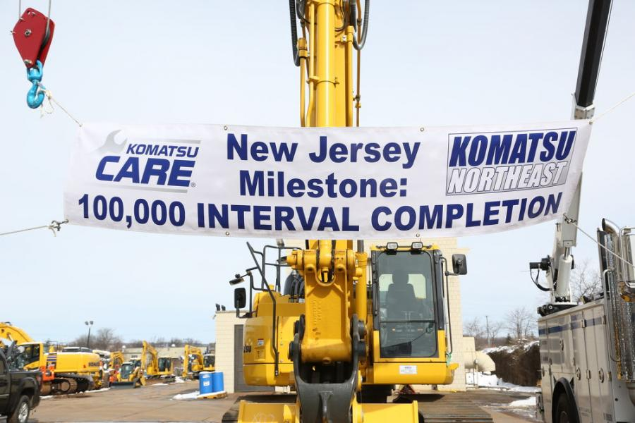 The 100,000th interval was completed on a Komatsu PC228USLC-10.
