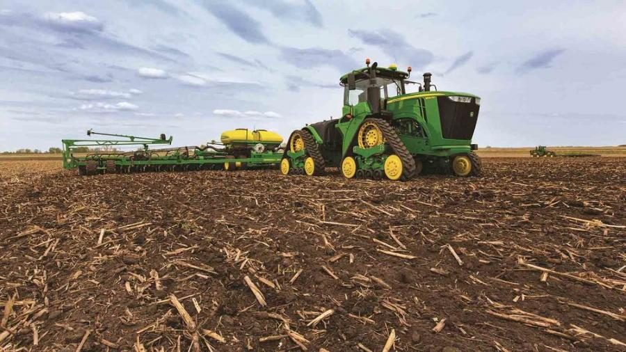 The first of the four-track Deere products rolled out in 2015, the 9RX.