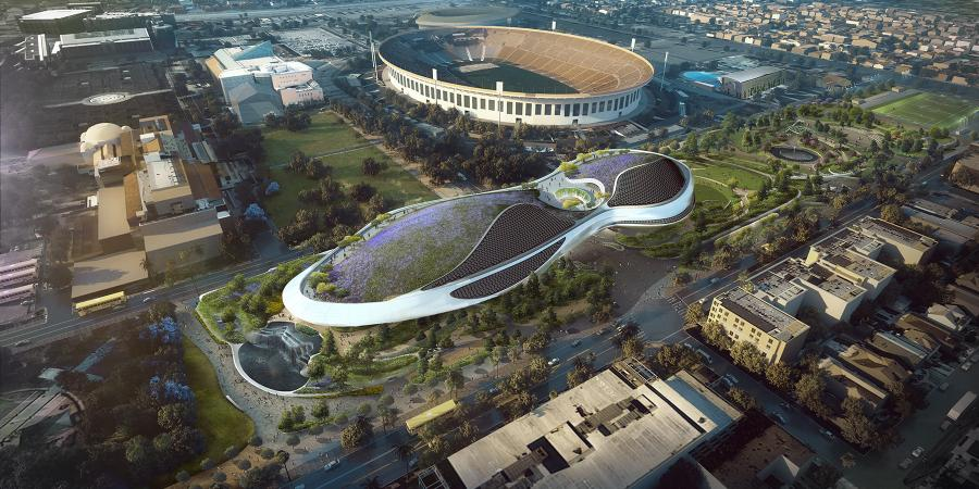 A rendering of the George Lucas Museum.
