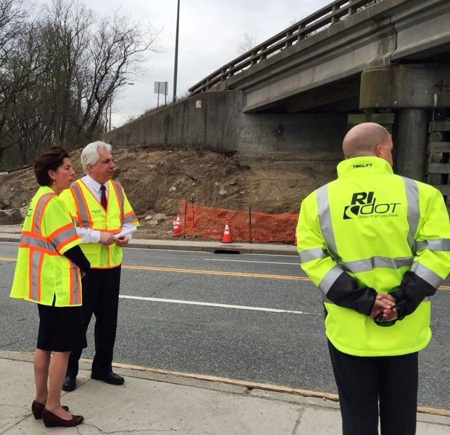 Governor Gina Raimondo and RIDOT officials at the East Shore Expressway and McCormick Quarry Bridges.