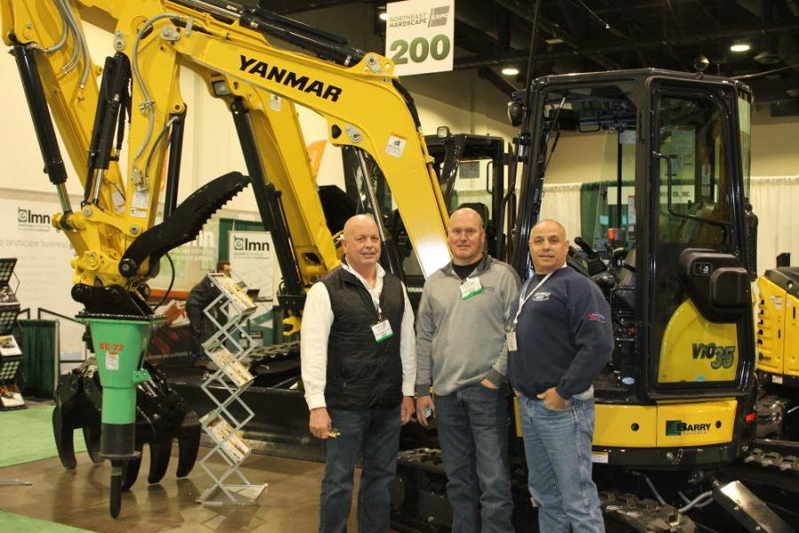 Barry Equipment, based in Massachusetts, was at the show featuring its Yanmar mini-excavators. (L-R) are Mike Conway and Bryan Morris, both Barry Equipment sales representatives, and customer John Mattera Jr., owner of Mattera Construction, located in Coventry, R.I.