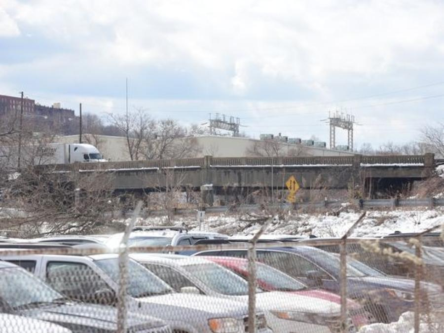 Officials announced an $18 million grant to rebuild a crumbling highway bridge near the Lincoln Tunnel.