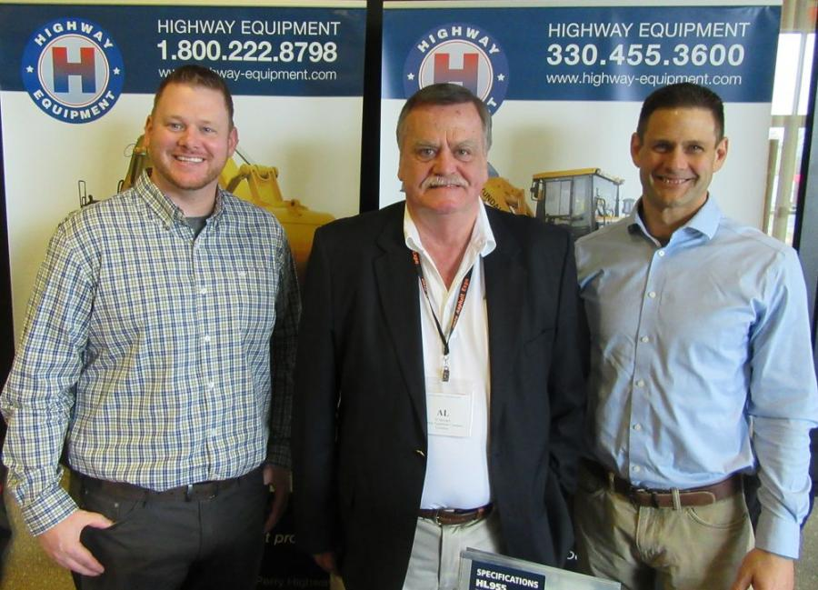 (L-R): Phil Berresford, Al Springer and Mike Rayz, all of Highway Equipment Company, welcome attendees at the show.