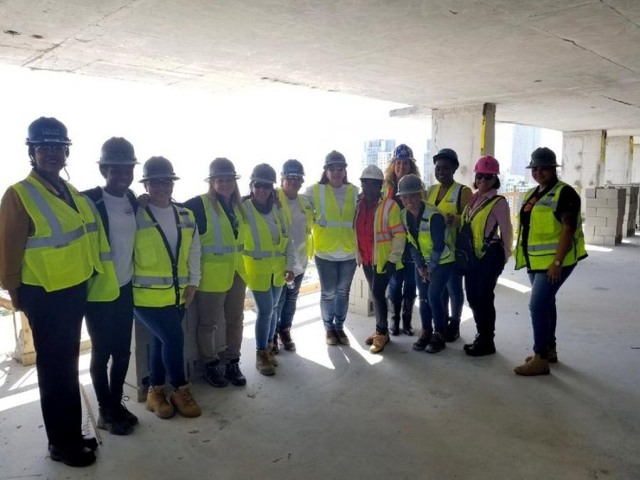 During the tour, NAWIC President Rhonda Wimberley and approximately 18 other members of the chapter toured the development's various components currently under construction, including its high-street retail promenade, the 43-story Caoba apartment building, and the Paramount Miami Worldcenter condominium tower and amenity deck.