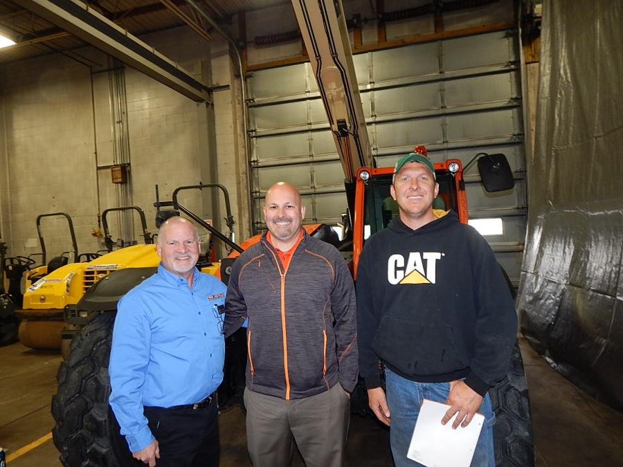 (L-R) are Mark Rossi, general manager, RMS Rentals; Jackson Schlieve, JLG district sales manager; and Kelly Anderson of Frana Companies, Hopkins, Minn.
