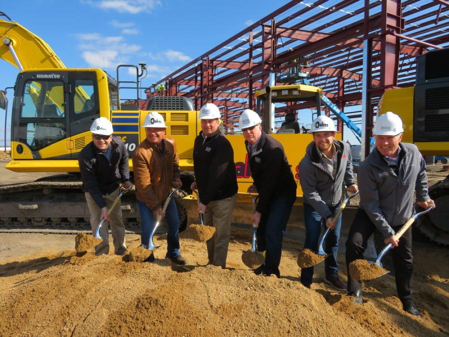 At the ground breaking of the new building are (L-R ) Dan Oakes Jr. of A.W Oakes & Son ; Dan Oakes Sr., president, A.W Oakes & Son, Racine, Wis.; Matt Roland, president of Roland Machinery Co., Larry Gindville, vice president Wisconsin division, Roland Machinery Co.; Max Oakes, A.W.Oakes & Son; and Jim Cairns, CEO Bukacek Construction, Racine, Wis.