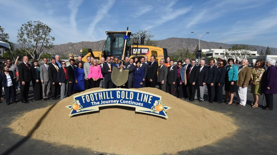 Officials break ground for the 12.3-mi. $1.5 billion Foothill Gold Line extension.
