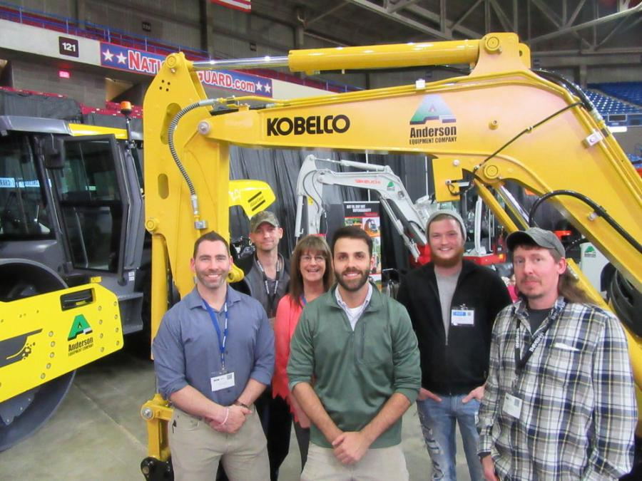 (L-R): The crew at Anderson Equipment, including Brad Coleman, Andy Breedlove, Tammie Staten, Jonathan Hale, Taylor Reed and Casey Haverty, welcomed attendees to see their line of Komatsu, Kobelco and Takeuchi equipment on display at the show.