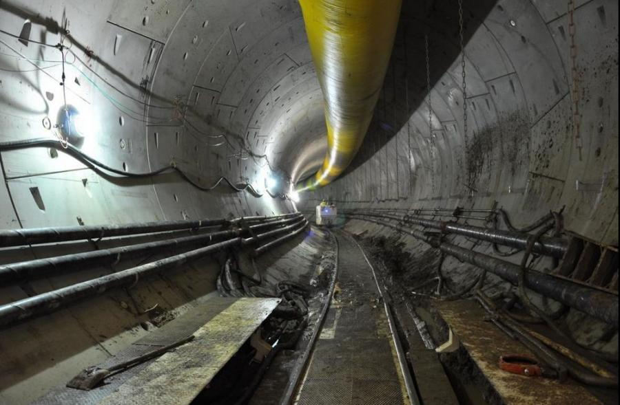 A look inside the Anacostia River Tunnel during construction.