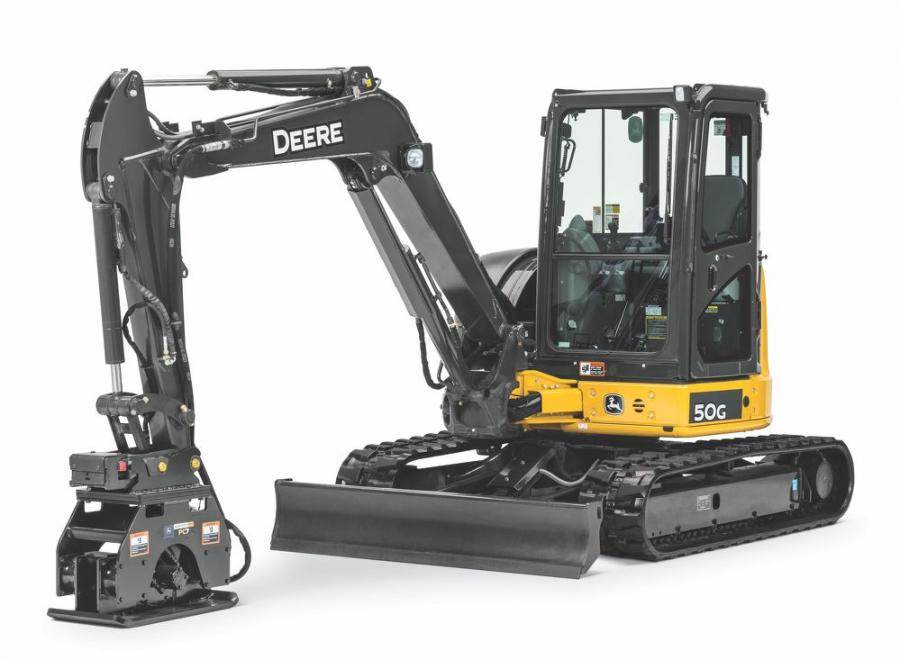 The PC4, PC7 and PC10 plate compactor models are compatible with the John Deere 26G, 30G, 35, 50G, 60G compact excavators; the 310L, 310L EP, 310SL, 310SL HL, 315SL and 410L backhoes; as well as most competitive models.