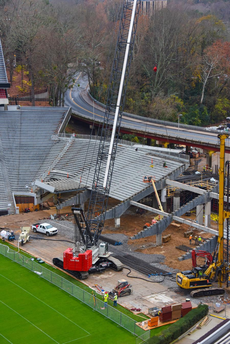 Bleacher supports weighing up to 30,000 lbs. (13,607.7 kg) are removed by a Link-Belt 348 H5 at University of Georgia in Athens, Ga.