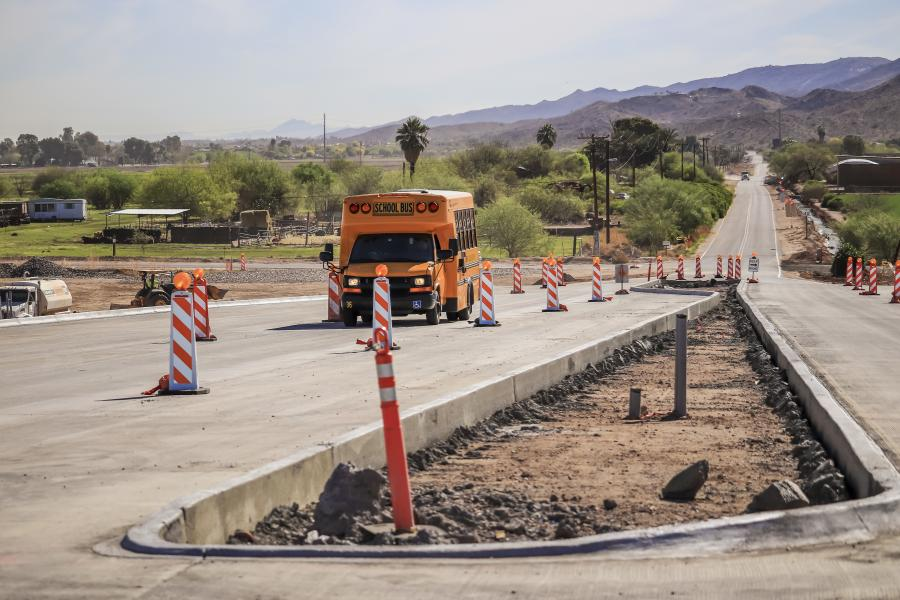 Following a five-month closure of the Elliot Road and 59th Avenue intersection, crews have completed a bridge that allows Elliot Road traffic to safely travel over the South Mountain Freeway mainline, which will open to traffic by late 2019.